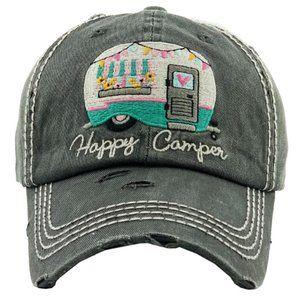 Happy Camper Black Distressed Baseball Hat